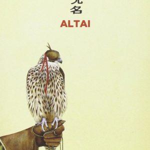 Altai - Wu Ming - (non) recensione - copertina del libro, rapace su mano guantata, sfondo giallo titolo in rosso posizionato in alto